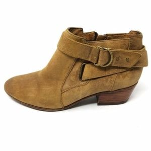 CLARKS Spye Belle Leather Booties Distressed Brown